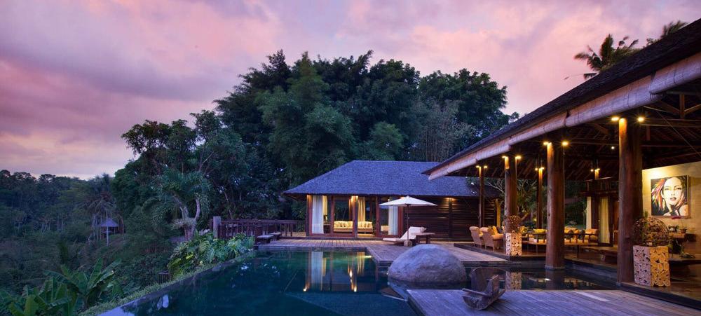 Luxury rehab resort in Bali at dusk
